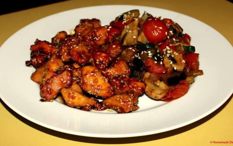 Recette poulet caramélisé au sésame & légumes sauce soja ...