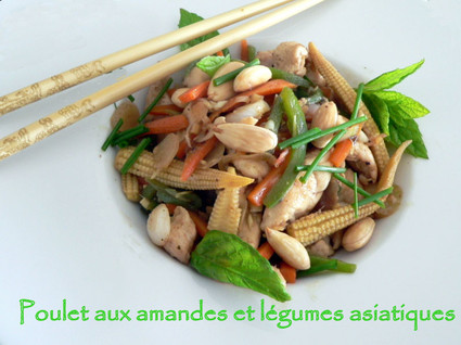Recette de poulet aux amandes et légumes asiatiques