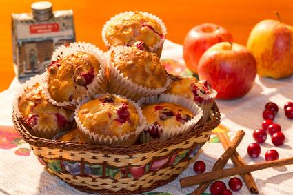 Recette de muffins aux canneberges, pommes et sirop d'érable