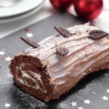 Bûche traditionnelle chocolat-marrons