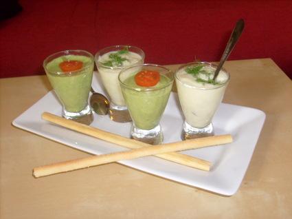 Verrines de mousse de haricot vert et fenouil