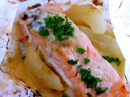 Recette de papillotes de saumon au roquefort