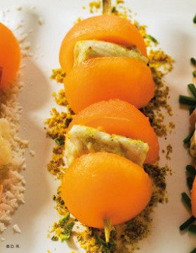 Mini brochettes de melon charentais jaune et blanc de poulet ...