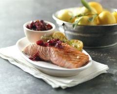 Recette saumon épicé avec sauce aux cranberries