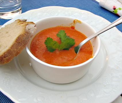 Recette de crème de poivrons rouges au mascarpone