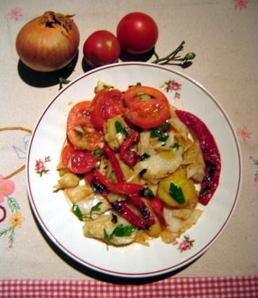 Recette de salade de morue, pommes de terre et poivrons rouges ...