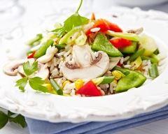 Recette wok de riz aux champignons, maïs et poivrons