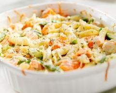 Recette gratin de pâtes, saumon et brocolis