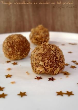 Recette de truffes croustillantes, praliné et crêpes dentelles