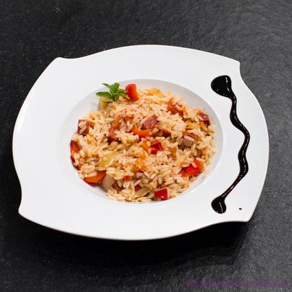 Recette de risotto tomates séchées-chorizo