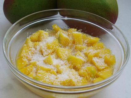 Recette de salade de mangues à l'orange, noix de coco et épices ...