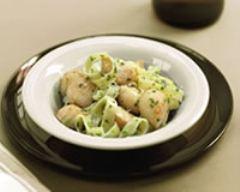 Recette salade de noix de saint jacques et tagliatelles aux herbes