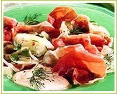 Recette salade de jambon cru et de concombre à la crème
