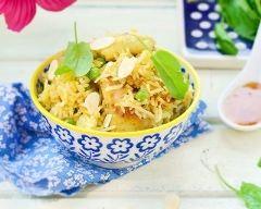 Recette riz au poulet, safran et amandes effilées