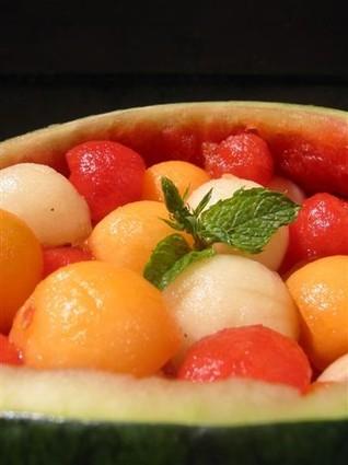 Recette de méli-mélo de melons et pastèques à l'eau de rose