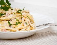 Recette spaghettis carbonara à la crème
