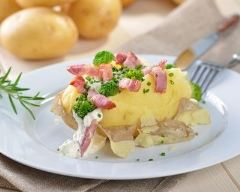 Recette pomme de terre farcie aux lardons et brocoli