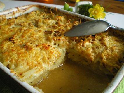 Recette de gratin de pommes de terre au bouillon de boeuf
