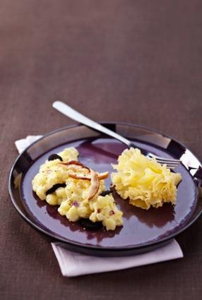 Pommes de terre à la tête de moine aoc, truffes et cèpes façon risotto