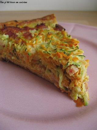 Recette de tarte à la carotte, courgette et lardons