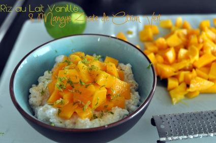 Recette de riz au lait vanillé et mangue zeste de citron vert