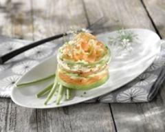 Recette millefeuille d'été et saumon au naturel
