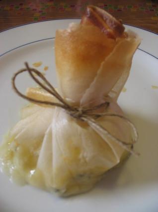 Recette aumônière de pomme au roquefort