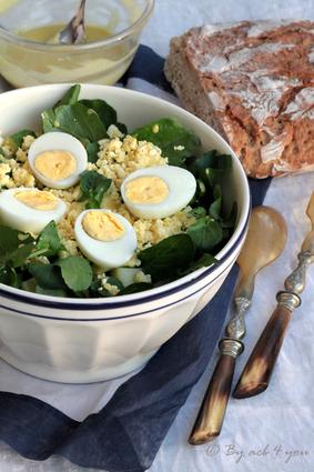Recette de salade de cresson aux œufs et sa vinaigrette moutardée ...