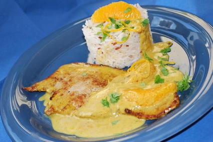 Recette escalopes de veau à la crème, au curry et à l'orange