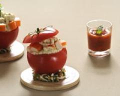 Recette tomate farcie au surimi-chèvre et pistou