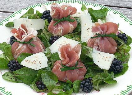 Recette aumônières de jambon de bayonne aux poires et brebis