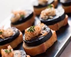 Recette toasts au boudin noir et fondue d'oignons