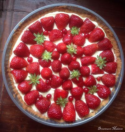 Recette de tarte aux fraises et et chantilly de lemon curd