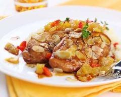 Recette escalope de poulet aux abricots et amandes effilées