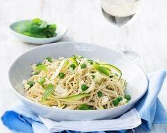 Recette spaghettis aux petits pois, courgette et fromage frais