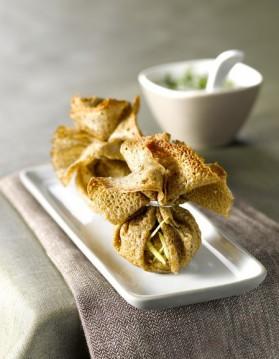Baluchons de dindon au poivre vert et confit d'oignons