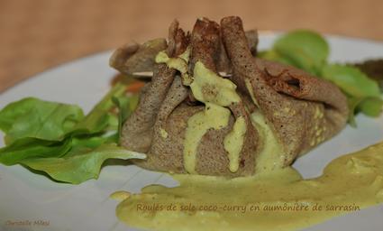 Recette de roulés de sole coco-curry en aumônière de sarrasin