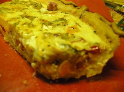 Recette de tarte au jambon et légumes