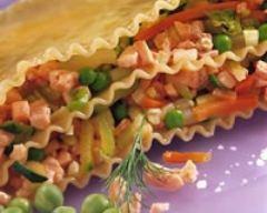 Recette petites lasagnes tièdes à la truite et aux petits légumes