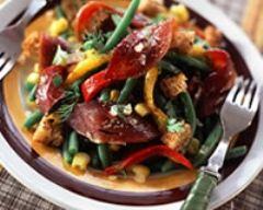Recette salade de magrets fumés et poivrons