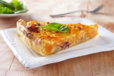 Recette de tarte potimarron et châtaignes au jambon cru facile et ...