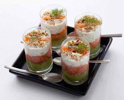 Recette de verrines de saumon fumé à la crème d'avocat