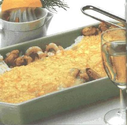 Recette de gratin de poisson, fruits de mer et champignons