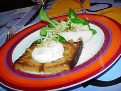 Recette de pain d'épices doré au chèvre frais et miel