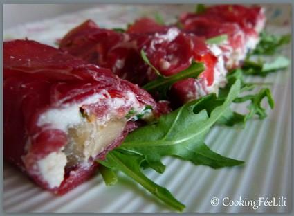 Recette de roulés de bresaola, aubergines et fromage frais