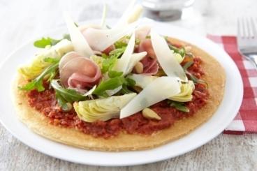Recette de tarte fine tomates confites, jambon de parme et ...