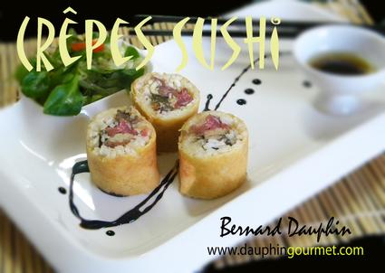 Recette de crêpe sushi, foie gras, carpaccio noisettes