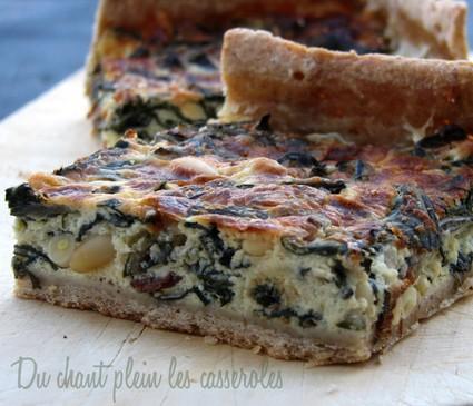 Recette de tarte aux blettes, chèvre, raisins secs et pignons
