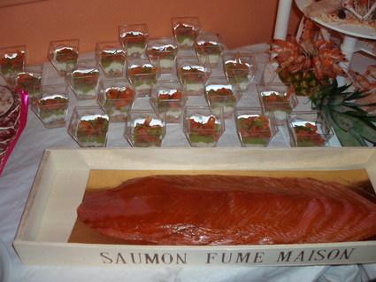 Recette de verrines de saumon fumé, avocat et crevettes