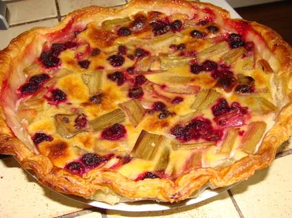 Recette de tarte rhubarbe et framboise